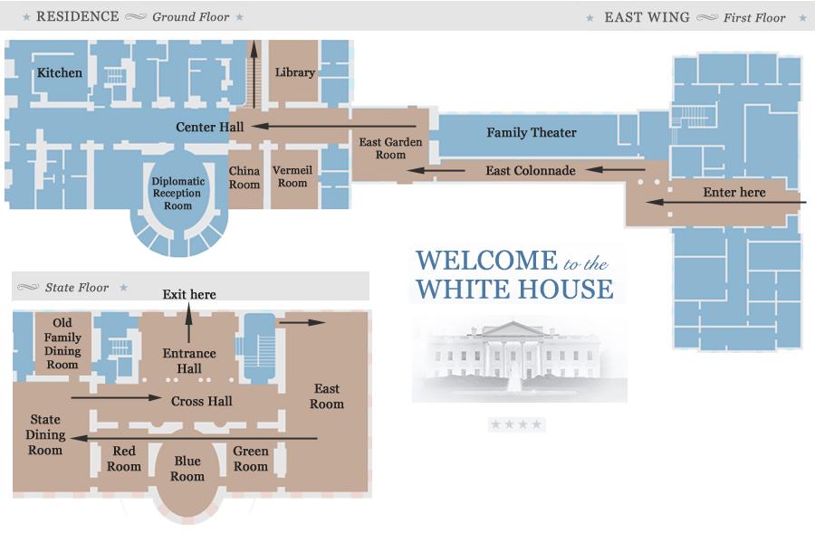 แผนผังห้องต่างๆ ภายในทำเนียบขาว (ภาพจาก https://whitehouse.gov1.info)